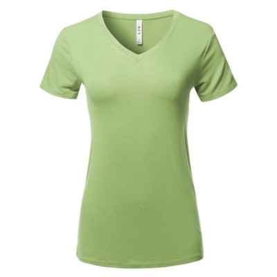 レディース 衣類 トップス A2Y Women's Basic Solid Premium Rayon Short Sleeve V-neck T Shirt Tee Tops Sage S ブラウス&シャツ