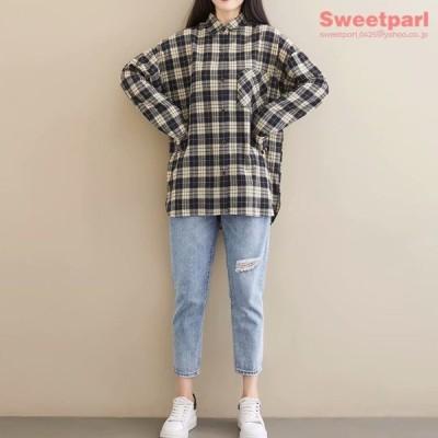 ビッグサイズ シャツ ネルシャツ チェックシャツ ロングシャツ トップス カジュアルシャツ レディース ファッション 春