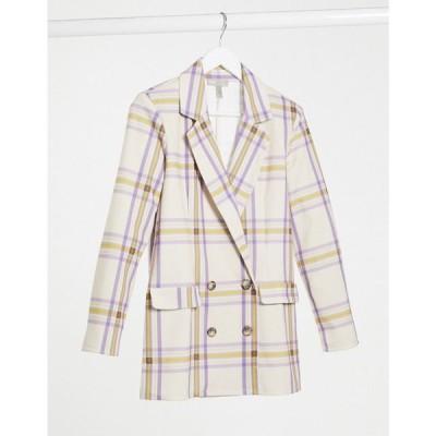 エイソス ASOS DESIGN レディース スーツ・ジャケット アウター Asos Design Jersey Dad Blazer In Large Scale Pastel Check チェック