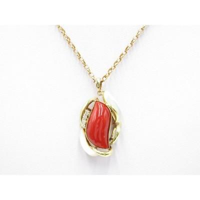 珊瑚&ダイヤ&白蝶貝ネックレス K18 ゴールド 貴金属