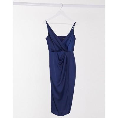 リトルミストレス ミディドレス レディース Little Mistress satin wrap midi dress in navy エイソス ASOS ネイビー 藍