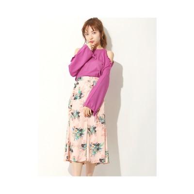 Lily Brown フリル付ミディスカート ピンク