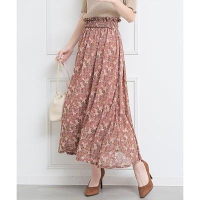 スカート 花柄シャーリングセットアップスカート/フレアスカート/セットアップ対応