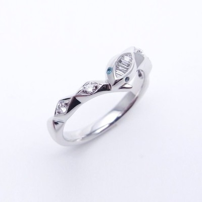 ダイヤモンド ブルートルマリン リング スネークモチーフ 0.13ct 0.01ct 14号 K18WG 新品仕上げ Sランク