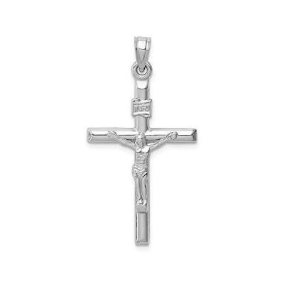 14k White Gold Cross Pendant Crucifix Charm【並行輸入品】