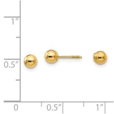 14 kイエローゴールドリバーシブル4 mmボールイヤリングボタンファインジュエリーギフト用女性用