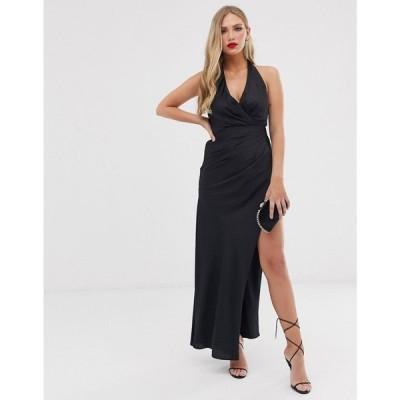 エイソス ASOS EDITION レディース ワンピース ワンピース・ドレス halter split side maxi dress Black