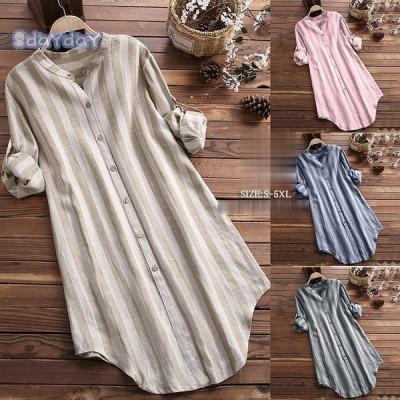 ブラウス シャツブラウス トップス ロングシャツ レディース ストライプ柄 チュニック 柄 体型カバー 長袖 大きいサイズ アウター シンプル きれいめ 40代