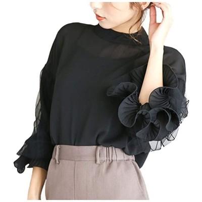 4色展開 ブラウス ボリューム袖 やわらか 上品 着やせ レディース(ブラック, M)