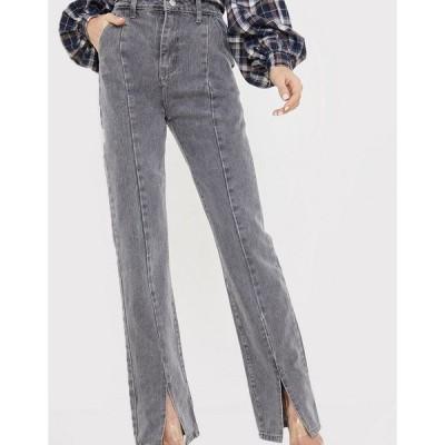 インザスタイル レディース デニムパンツ ボトムス In The Style x Olivia Bowen high waisted slit front straight leg jean in gray Grey