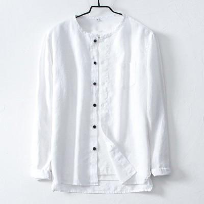 シャツ メンズ リネンシャツ 長袖 麻 リネン トップス ブラウス 前開き 丸首 無地 夏 通勤 普段使い ナチュラル カジュアルシャツ メンズファッション