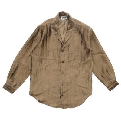 90年代 USA製 CHICOS DESIGN ポリエステル デザインシャツ ブラウン サイズ表記:0