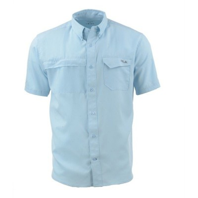 フック シャツ トップス メンズ Huk Men's Tide Point Woven Solid Short Sleeve Button Down Shirt IceBlue