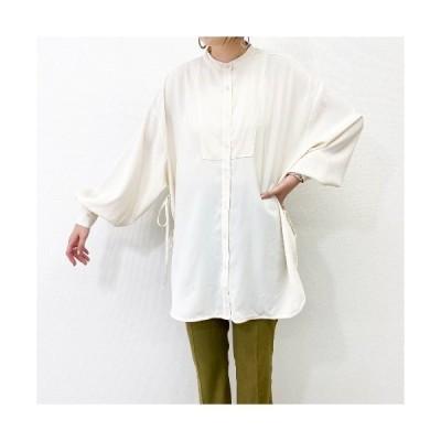 シャツ ブラウス 【 ZOZO限定 】サイドリボンバンドカラービッグシャツ/ボリューム袖・・