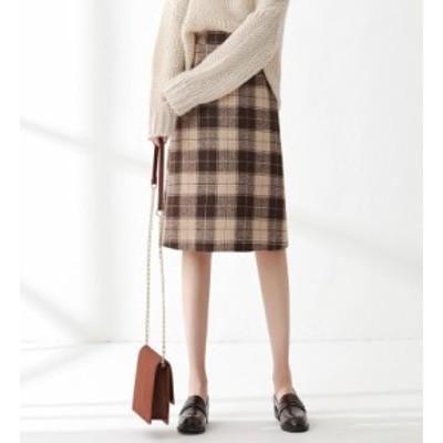 ミディスカート レトロ ミディアム丈 ハイウエスト チェック柄 Aライン お出かけ 大きいサイズ レディース スカート