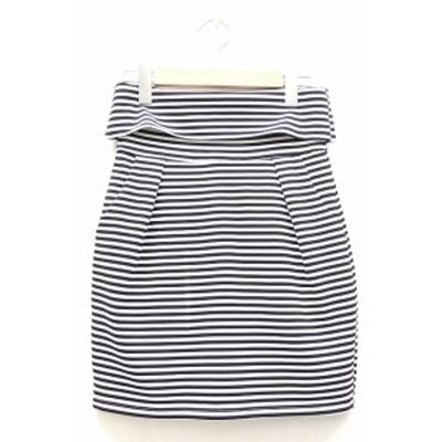 【中古】リップサービス LIP SERVICE スカート ショート ミニ コクーン ボーダー 柄 バックジップアップ 2 ホワイト 白