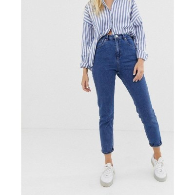 エイソス レディース デニム ボトムス ASOS DESIGN Recycled Farleigh high waisted slim mom jeans in mid wash blue Mid blue