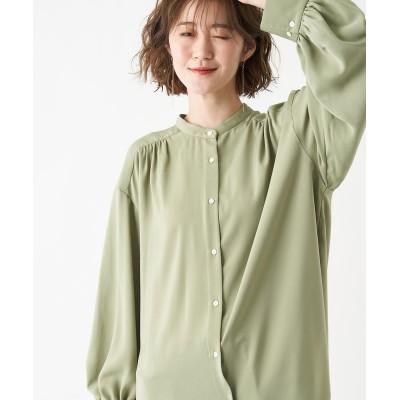 《予約》【《ワードローブにマストな1枚》洗える】バンドカラー袖ボリュームシャツ