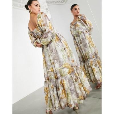 エイソス レディース ワンピース トップス ASOS EDITION oversized maxi dress in floral satin burnout with square neck Multi