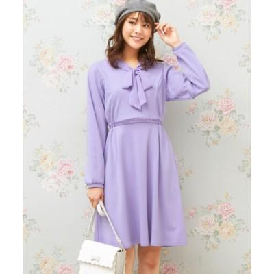大きいサイズ リボン衿カットソーワンピース(MIIA) ,スマイルランド, ワンピース, plus size dress
