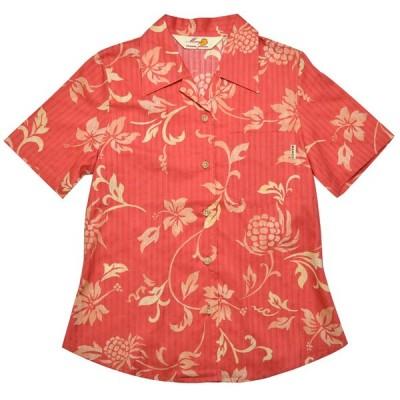 かりゆしウェア(沖縄アロハシャツ)レディース MANGO トライバルアダンハイビ オープン  ピンク