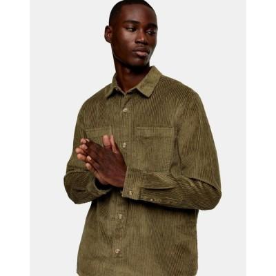 トップマン Topman メンズ ジャケット シャツジャケット アウター corduroy overshirt in olive green グリーン