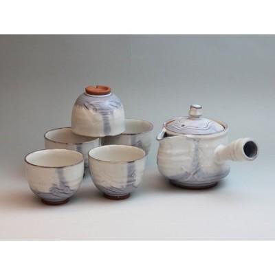 萩焼 茶器揃 湯飲み 急須 あじさい 温もりを感じる贈り物 木箱入