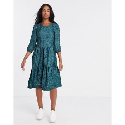ヴィラ レディース ワンピース トップス Vila textured oversized smock dress in green