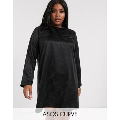 エイソス レディース ワンピース トップス ASOS DESIGN Curve mini shift dress in stud embellishment