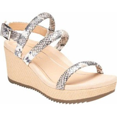 バイオニック レディース サンダル シューズ Kora Strappy Wedge Slingback Silver Raffia Boa Metallic Leather