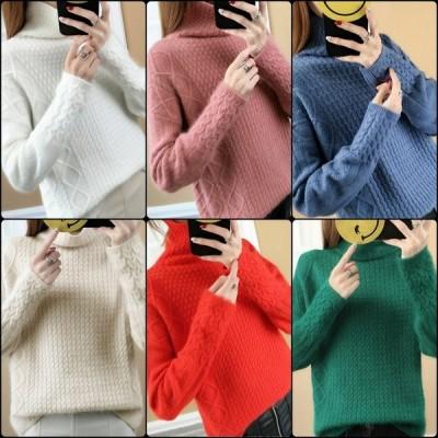 6カラー ハイネックのニットセーター 無地 長袖 シンプルデザイン 大人可愛い  秋冬 お出かけに