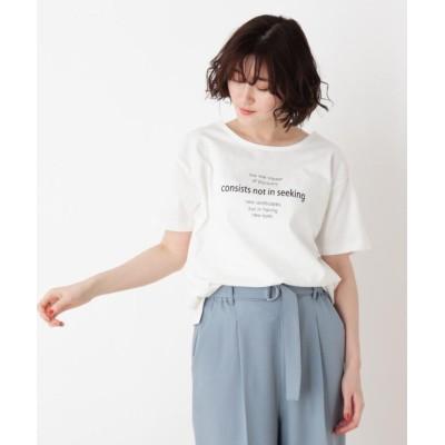 (SHOO・LA・RUE/シューラルー)オトナロゴTシャツ/レディース ホワイト(002)