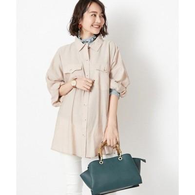 シャツ ブラウス シアー素材オーバーサイズビッグシルエットシャツ透けブラウス