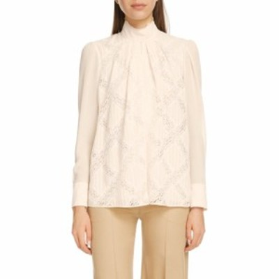 クロエ CHLOE レディース ブラウス・シャツ トップス Lace Inset Silk Georgette Blouse Dusty White