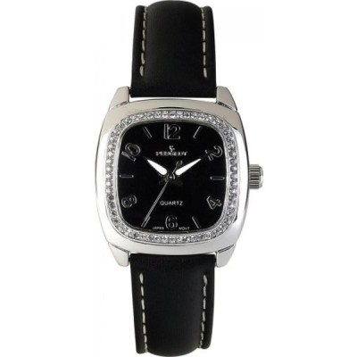 プジョー 腕時計 レディースウォッチ Peugeot Women's 304BK Silver-Tone Swarovski Crystal Accented Black Leather Strap Watch