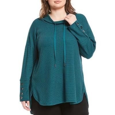 ウエストバウンド レディース Tシャツ トップス Plus Size Funnel Neck Button Cuff Waffle Knit Drawstring Top