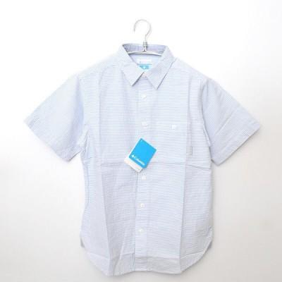 [新品] コロンビア Columbia ◆ コットン シアサッカー ボーダー 半袖 シャツ/XS/ライトブルー P432