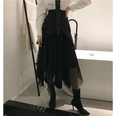 [55555SHOP]⏰限定SALE価格💖韓国ファッション 香港スタイル、ダーク、レトロ、イレギュラー、マルチレベルのスカート、ふわふわスカート