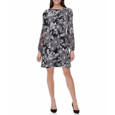 トミー ヒルフィガー レディース ワンピース トップス Floral Print Long Balloon Sleeve Jersey Chiffon A-line Dress Black/Cream