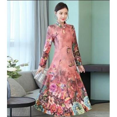 2点送料無料 レディース ワンピースドレス 中国風  チャイナ風  ナチュラル エスニッ チャイナドレス 古代 スリム効果 ロングタイプ