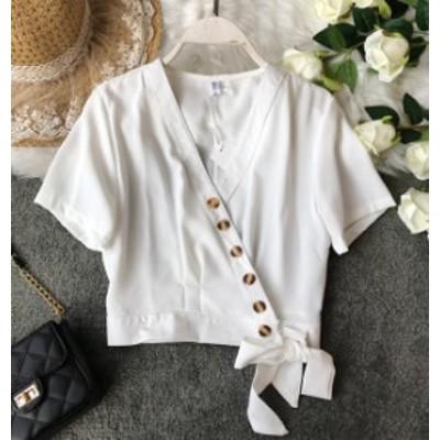 ブラウス レディース 白 韓国 ファッション カシュクール トップス Vネック リボン 半袖 無地 ゆったり 大人可愛い シンプル レトロ ガー