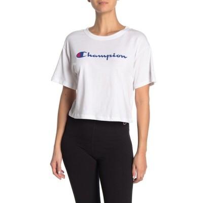 チャンピオン レディース Tシャツ トップス The Cropped Logo T-Shirt WHITE
