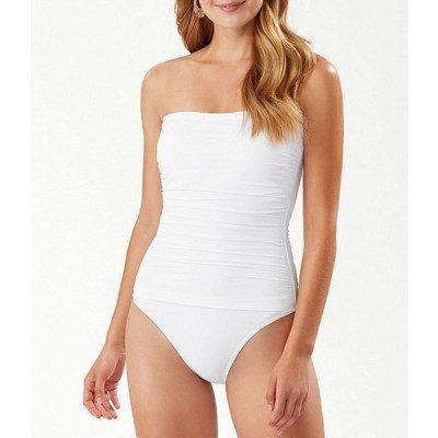 トッミーバハマ レディース ワンピース トップス Pearl Solids Shirred Bandeau Tummy Control One Piece Swimsuit