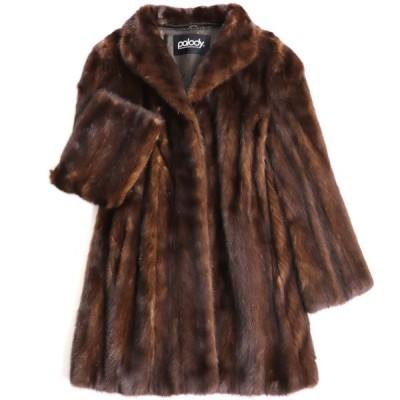 極美品▼Palody MINK パロディ ミンク 裏地花柄刺繍入り 本毛皮コート ブラウン 毛質艶やか・柔らか◎