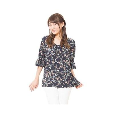 (ロンショップ)R.O.N shop 大人 かわいい 花柄 シャーリング スリーブ ブラウス ゆったり チュニック 半袖 白 黒 (ブラック