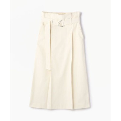 TOMORROWLAND/トゥモローランド コットン ベルテッドミディスカート 11 ホワイト XS(7号)