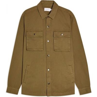 トップマン TOPMAN メンズ シャツ オーバーシャツ トップス dark olive overshirt solid color shirt Military green