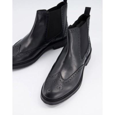 デューン Dune メンズ ブーツ ショートブーツ ブローグ チェルシーブーツ シューズ・靴 chelsea brogue ankle boots in black leather ブラック