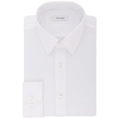 カルバンクライン シャツ トップス メンズ Calvin Klein Men's STEEL Classic/Regular Non-Iron Stretch Performance Dress Shirt White