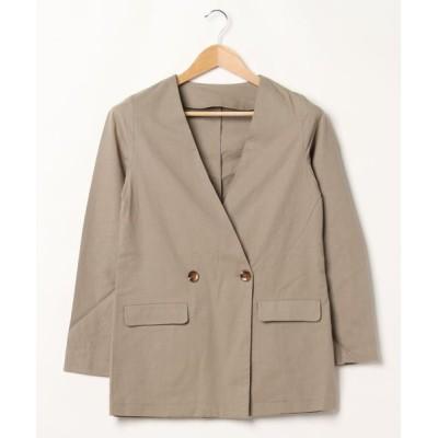 STYLEBLOCK / 綿麻ノーカラーテーラードジャケット WOMEN ジャケット/アウター > ノーカラージャケット